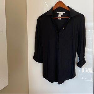 Max Studio black stretch pocket blouse